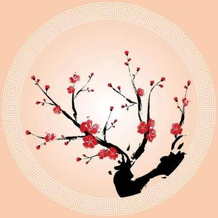 flor de sakura: Pintura de estilo oriental, flor de ciruelo