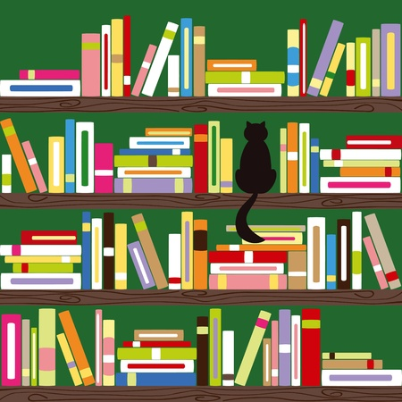 shelf with books: Abstract cat with colorful books on bookshelf Illustration