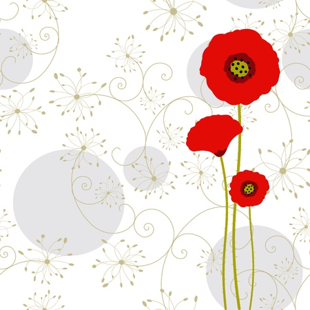 Abstract red poppy greeting card Vector