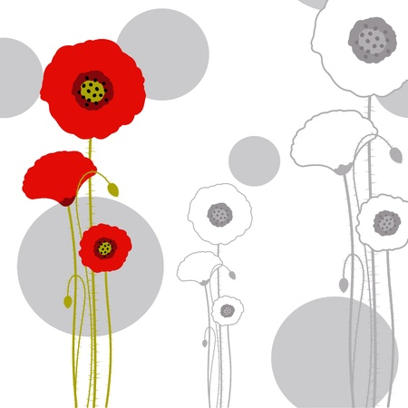 Abstract red poppy on seamless pattern background Vector
