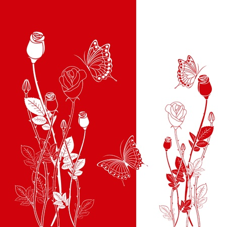 Abstract red rose with butterfly greeting card Vector