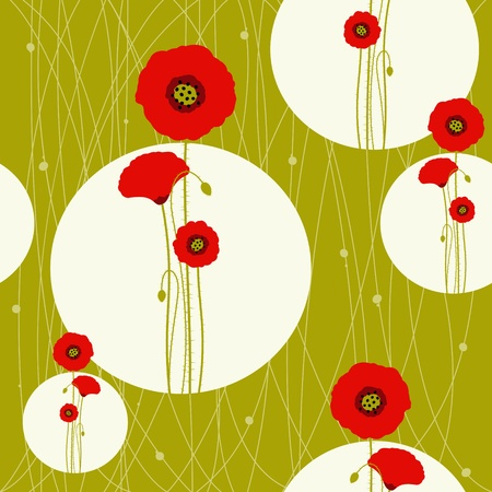 Abstract red poppy seamless pattern background Vector