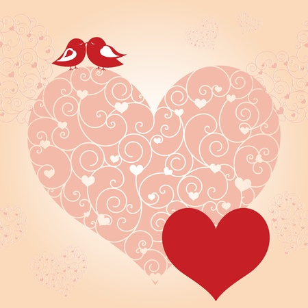 Abstract red valentine birds pink heart greeting card Stock Vector - 8796525