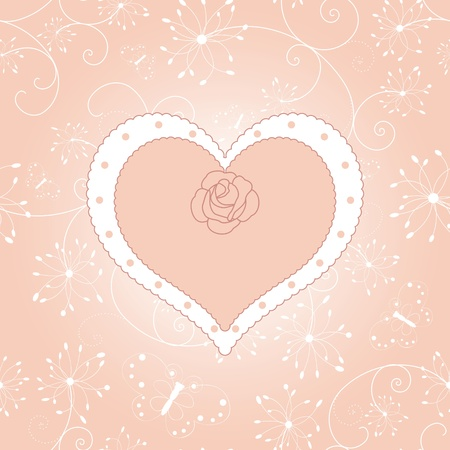Vintage floral heart with rose greeting card Stock Vector - 8796522
