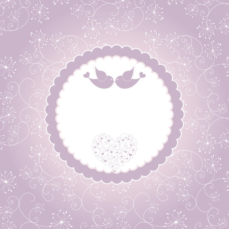 Lovebirds on seamless pattern background greeting card Ilustracja