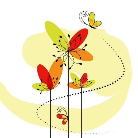 蝶と抽象的な春の花  イラスト・ベクター素材