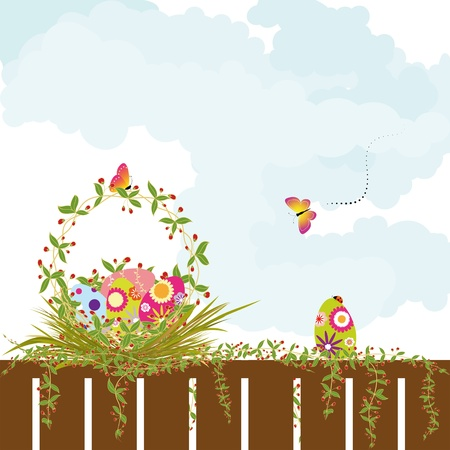 Springtime Easter holiday wallpaper colorful eggs with butterfly  Stock Vector - 8911891