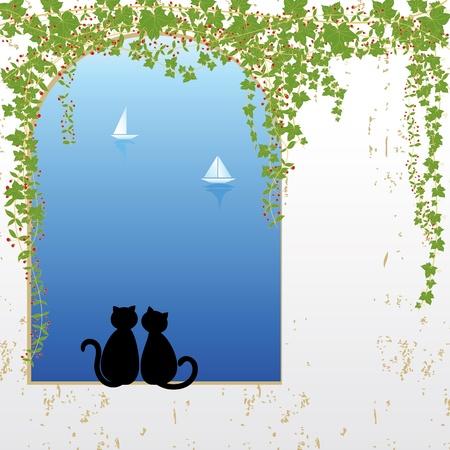 climbing plant: Cat dating Illustration