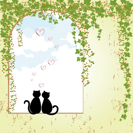 Springtime cat love Vector