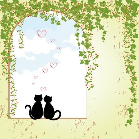 Springtime cat love Vector