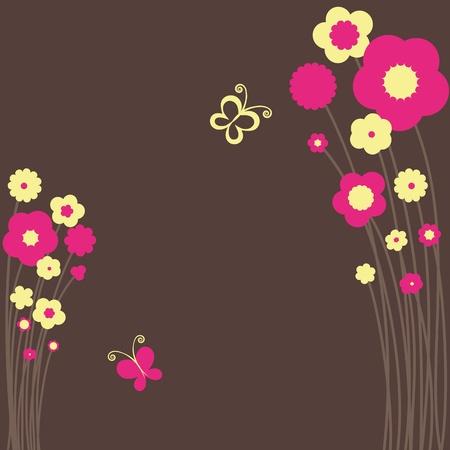 Springtime floral butterfly postcard Stock Vector - 9054432