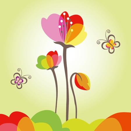 azahar: Colorida flor de primavera abstracto con mariposa