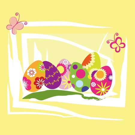 Springtime Easter holiday wallpaper colorful eggs with butterfly Stock Vector - 9054436