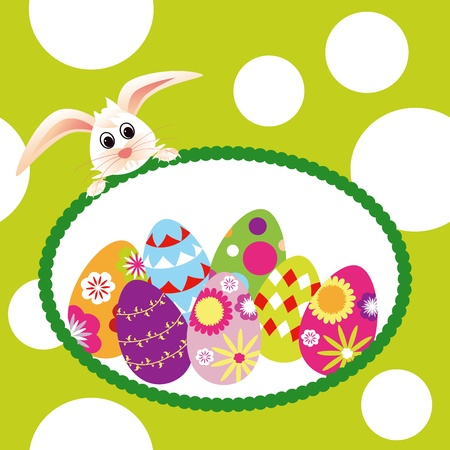 Springtime Easter holiday wallpaper colorful eggs with rabbit photo