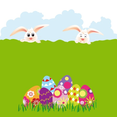 Springtime Easter holiday wallpaper colorful eggs with rabbits photo