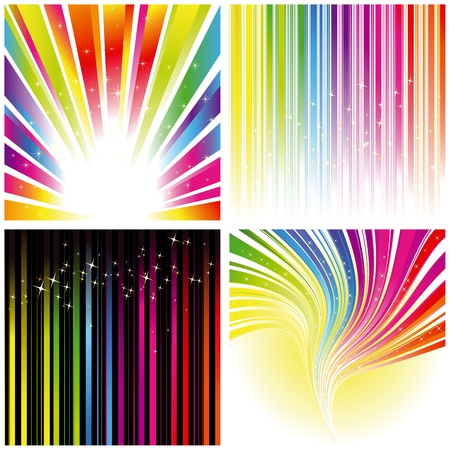 Abstract set of rainbow color stripe and stars background Illustration