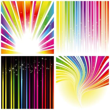 brillante: Set astratto di background di striscia e stelle color arcobaleno