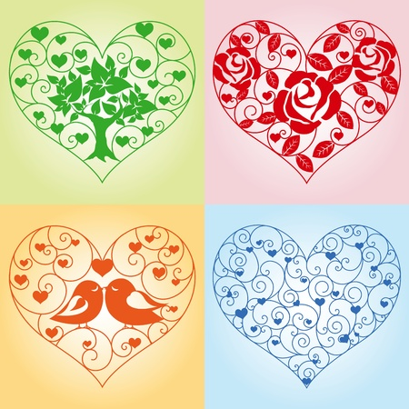 Set of beautiful floral hearts Vector
