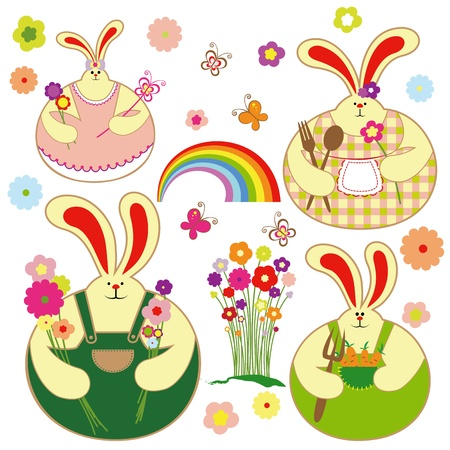 Set of colorful rabbit with springtime floral, butterfly and rainbow Vector
