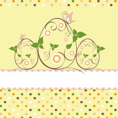 Springtime Easter greeting card daisy butterfly on yellow background Vector