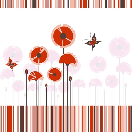 red poppy: Abstract red poppy butterfly on colorful stripe background Illustration