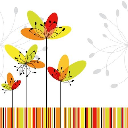 red and yellow card: Tarjeta de felicitaci�n abstracta flor de primavera sobre fondo de bandas colores