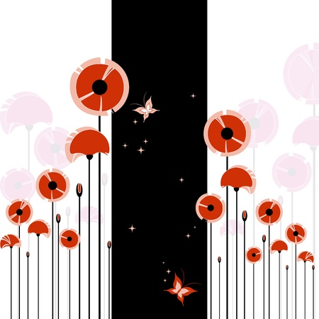 Abstract red poppy and butterfly on black and white background Stock Vector - 9311845