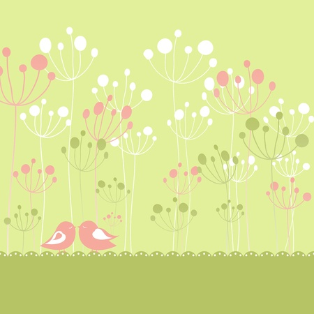 Springtime colorful birds green floral greeting card with copy space Vector