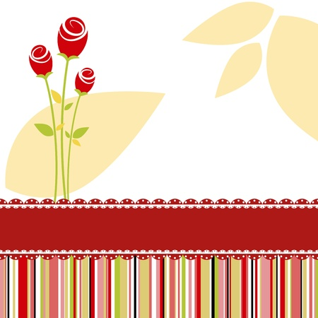 Love invitation card with red rose flowers Stock Vector - 9407114