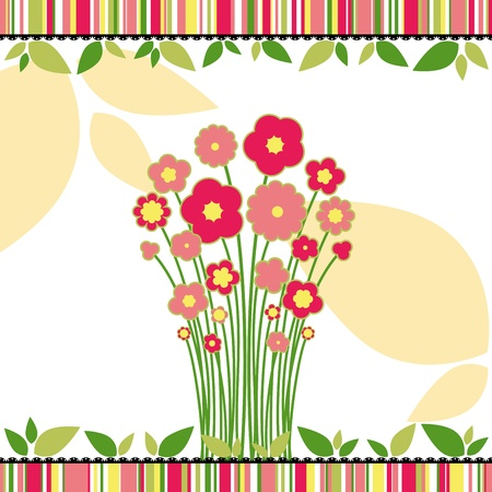 Springtime love greeting card with colorful flowers on colorful striped background