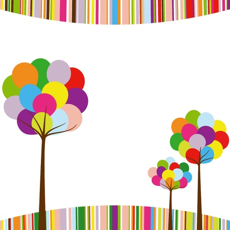 rainbow abstract: Abstract springtime rainbow color tree on colorful stripe background