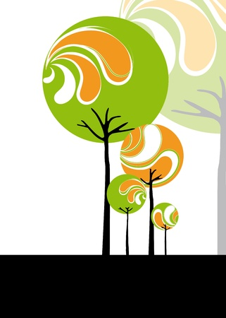 Abstract stylish tree on black and white background Stock Vector - 9480899