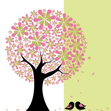 lovebird: Abstract springtime flower tree with lovebird on green white background