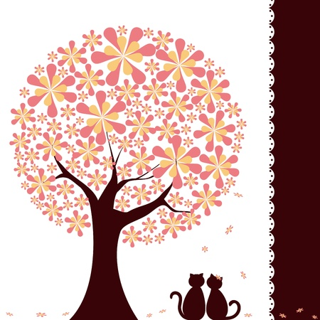 Abstract springtime flower tree with love cats on green white background Vector