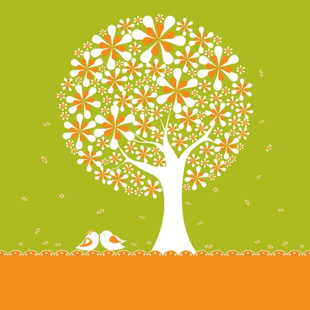lovebirds: Abstract springtime flower tree with lovebirds on orange green background