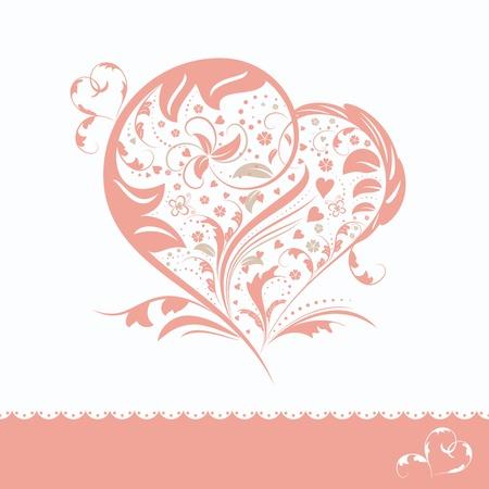 Abstract pink flower heart shape wedding invitation card Stock Vector - 9597061