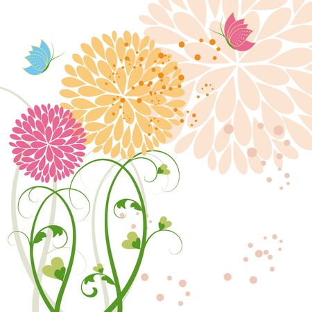 Abstract springtime colorful daisy flower and butterfly Vector