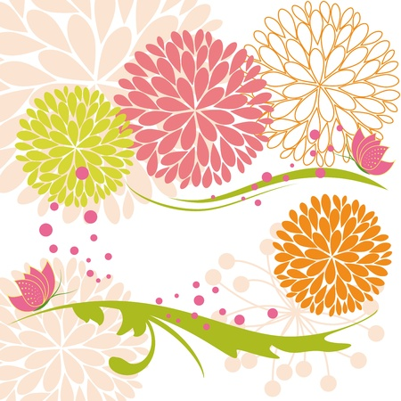 Abstract springtime colorful daisy flower and butterfly Illustration
