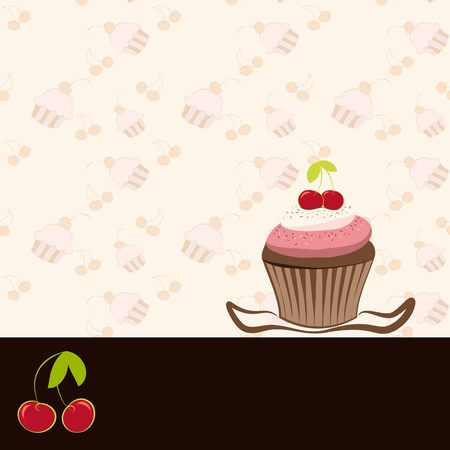 Cherry cupcake invitation card on seamless pattern background Vector