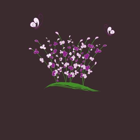 summertime purple flower butterfly greeting card Vector