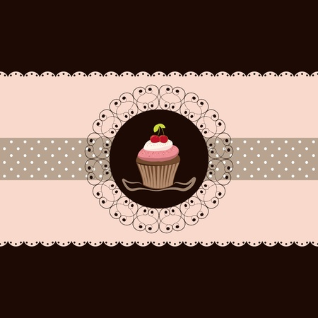 Cherry cupcake invitation card pink brown background Çizim