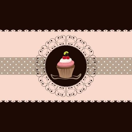 Fondo marrón de cereza cupcake invitación tarjeta Rosa