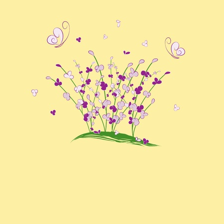 summertime purple flower butterfly greeting card Vector
