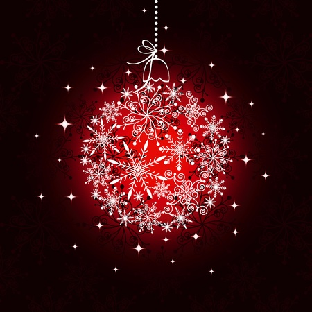 christmas motives: Red Christmas ornament ball on seamless pattern background