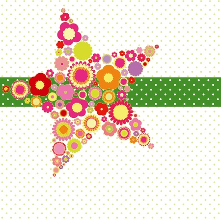 Spring summer colorful flower star shape greeting card on polka dot background Stock Vector - 10013053