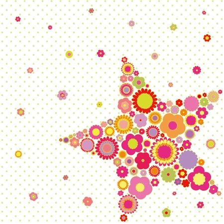 폴카 도트 배경에 봄 여름 다채로운 꽃 별 모양의 인사말 카드