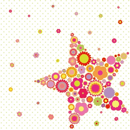 Spring summer colorful flower star shape greeting card on polka dot background Çizim