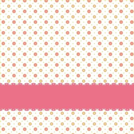 Patrón de una flor rosa lunares con cinta rosa