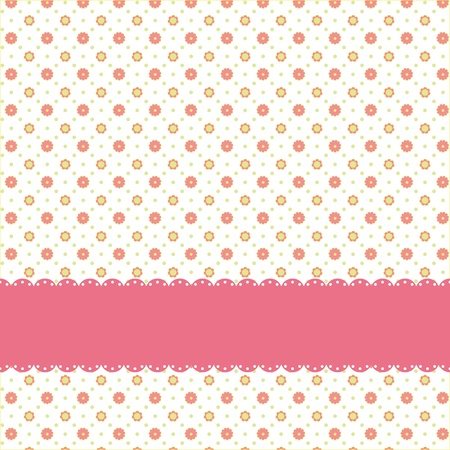 Pink flower polka dot seamless pattern with pink ribbon Vector
