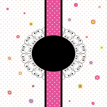 vintage card design with colorful flower and polka dot seamless pattern Stock Vector - 10105342